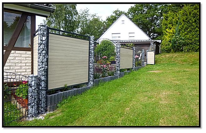 gabionen und wpc wpc gartenzaun set 180cm lang wpc sichtschutz mit gabionen lovely zaun fence. Black Bedroom Furniture Sets. Home Design Ideas